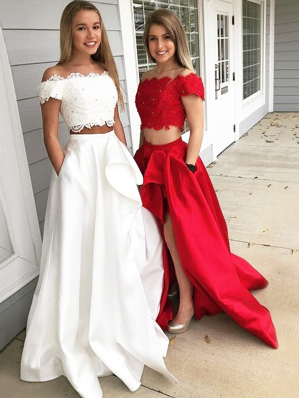 A-Line/Princess Off-the-Shoulder Sleeveless Long Lace Satin Two Piece Dresses