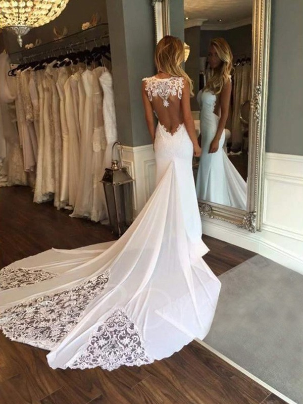 Trumpet/Mermaid Sleeveless Sweetheart Cathedral Train Lace Wedding Dresses