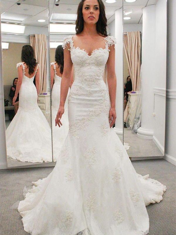 Brilliant Trumpet/Mermaid Short Sleeves Sweetheart Chapel Train Lace Wedding Dresses