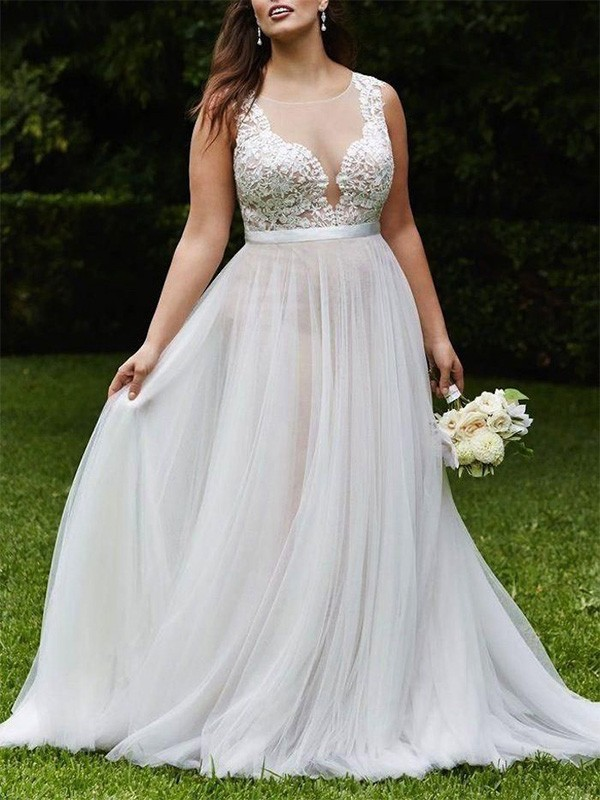 Adorable A-Line/Princess Sleeveless Scoop Court Train Tulle Wedding Dresses