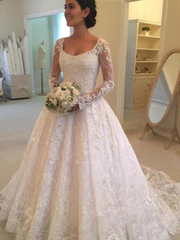 Beautiful Ball Gown Long Sleeves Scoop Lace Cathedral Train Wedding Dresses