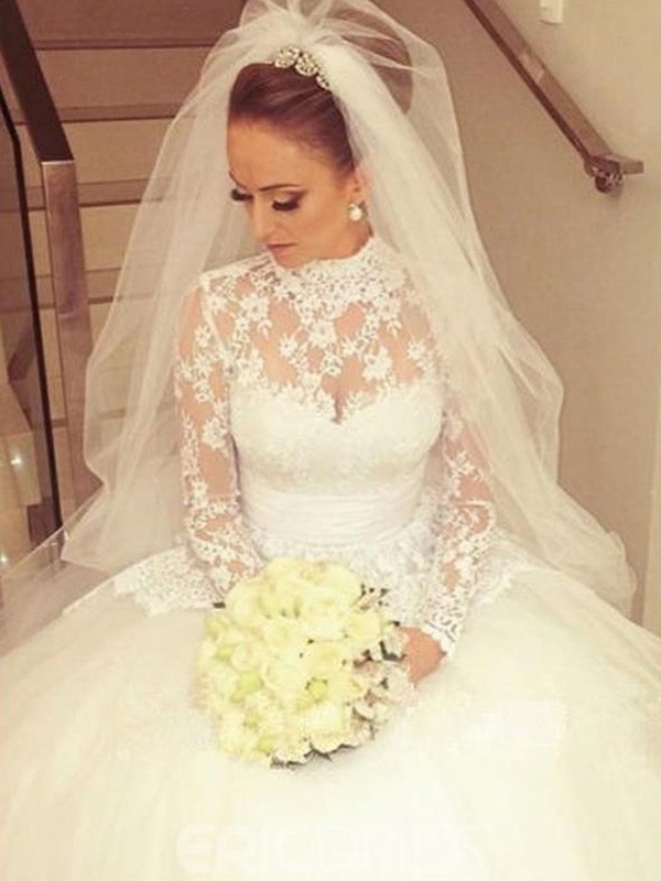 Sweep/Brush Train Ball Gown Long Sleeves High Neck Lace Wedding Dresses