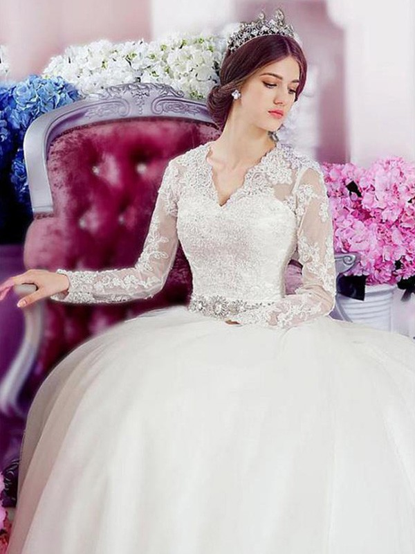 A-Line/Princess Long Sleeves V-neck Tulle Cathedral Train Wedding Dresses