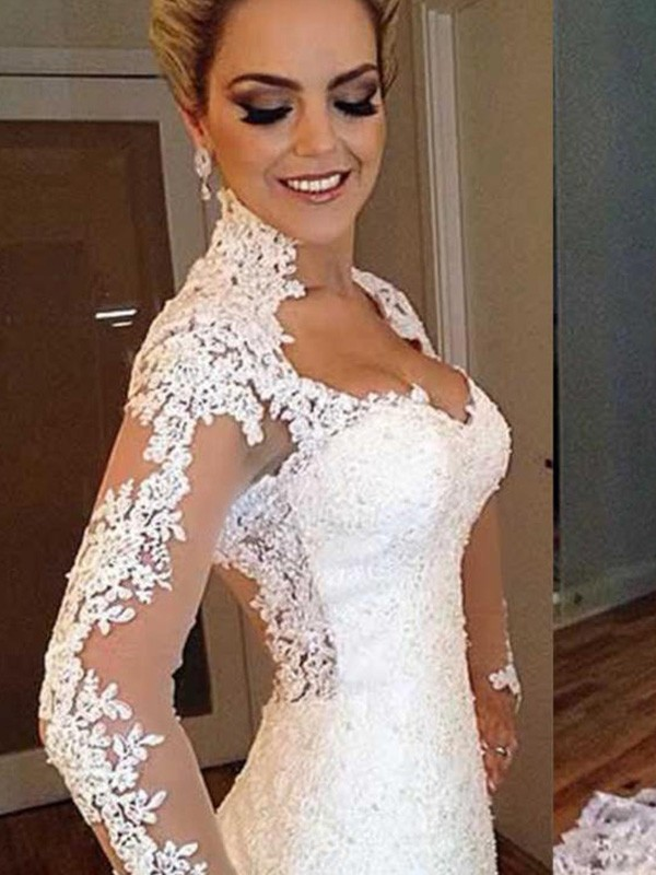 Trumpet/Mermaid Sweep/Brush Train Long Sleeves V-neck Lace Wedding Dresses