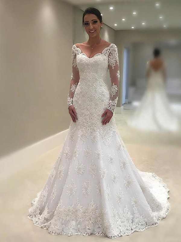 Trumpet-Mermaid Court Train Long Sleeves V-neck Lace Wedding Dresses