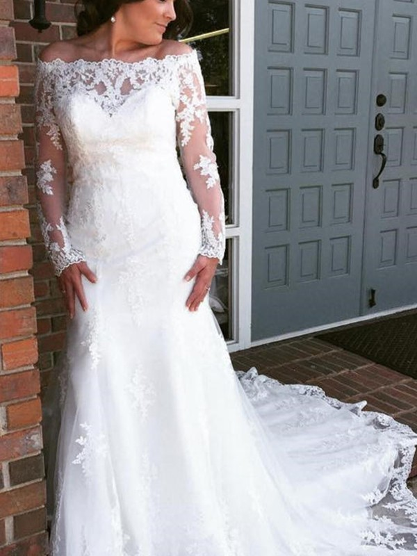 Trumpet/Mermaid Off-the-Shoulder Cathedral Train Tulle Wedding Dresses