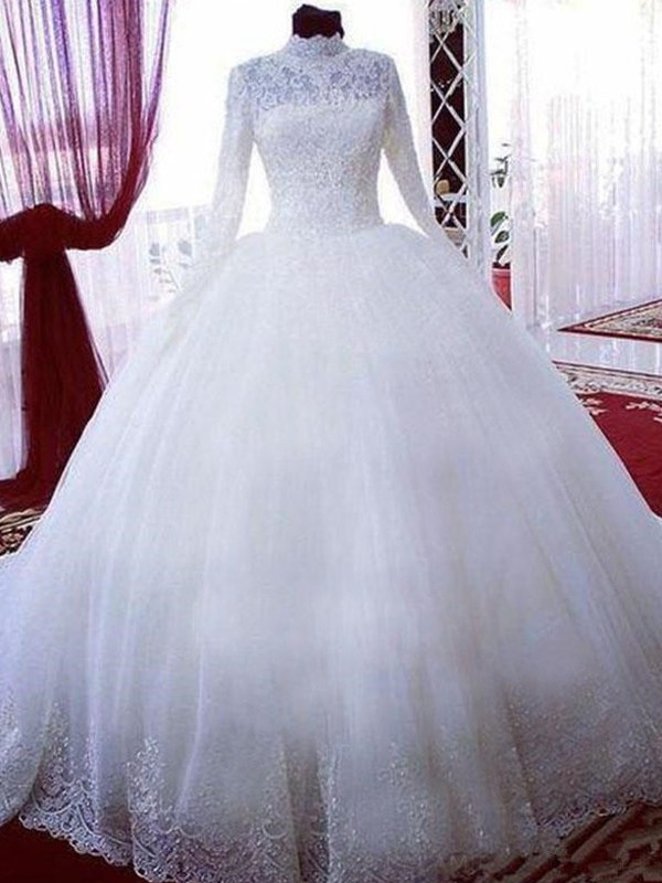 Classical Ball Gown High Neck Tulle Long Sleeves Chapel Train Wedding Dresses