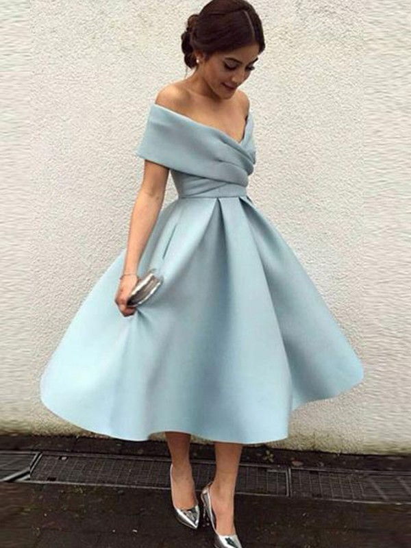 A-Line/Princess Off-the-Shoulder Tea-Length Sleeveless Satin Dresses