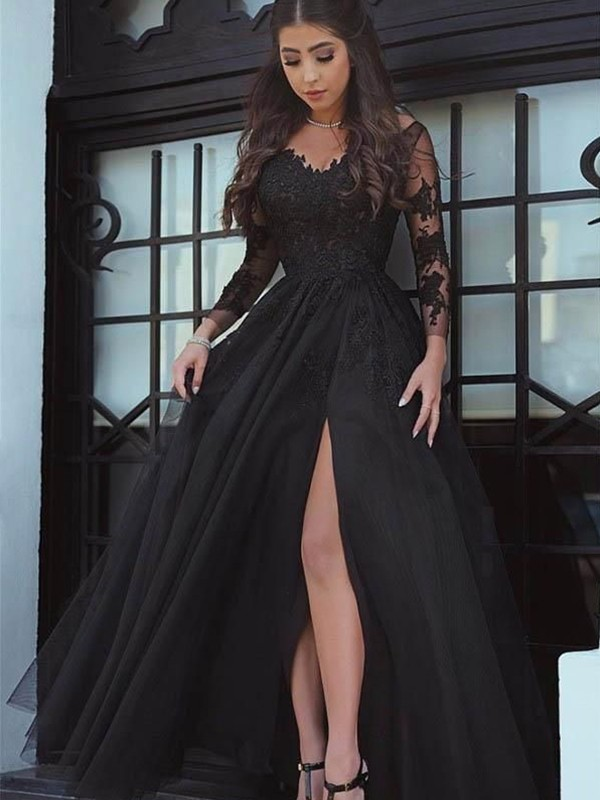 Perfect Ball Gown Off-the-Shoulder Long Sleeves Floor-Length Tulle Dresses