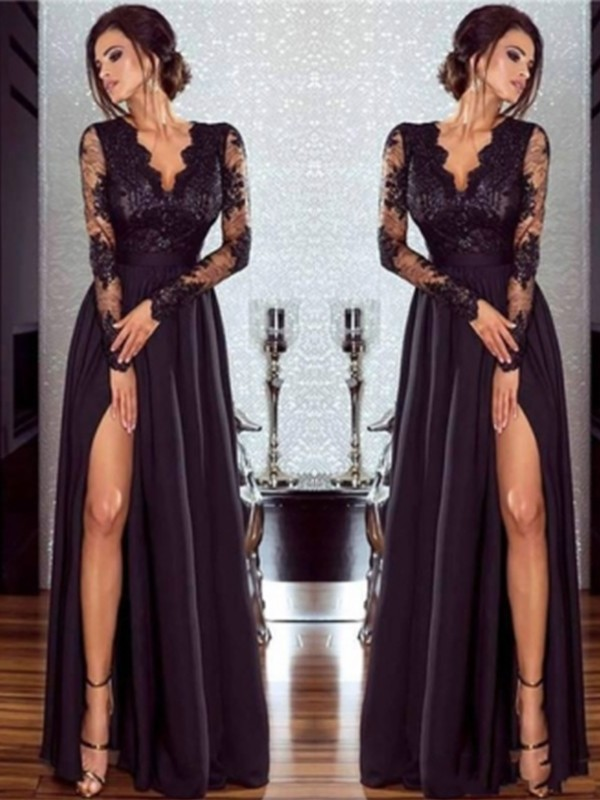 Smart A-Line/Princes V-neck Long Sleeves Floor-Length Chiffon Dresses