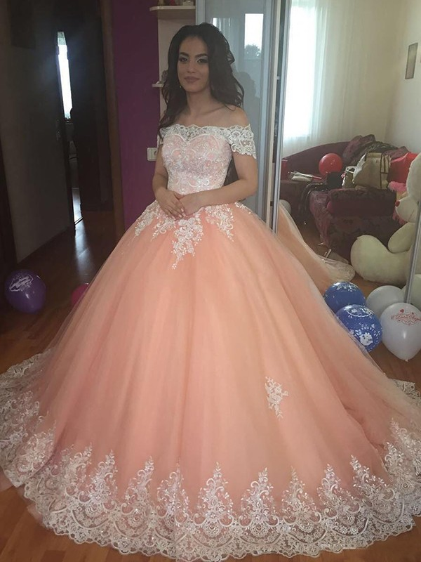Trendy Ball Gown Off-the-Shoulder Sleeveless Tulle Dresses Court Train