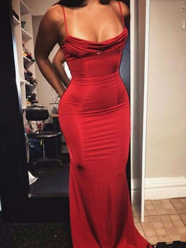 Sheath/Column Spaghetti Straps Sleeveless Floor-Length Spandex Dresses
