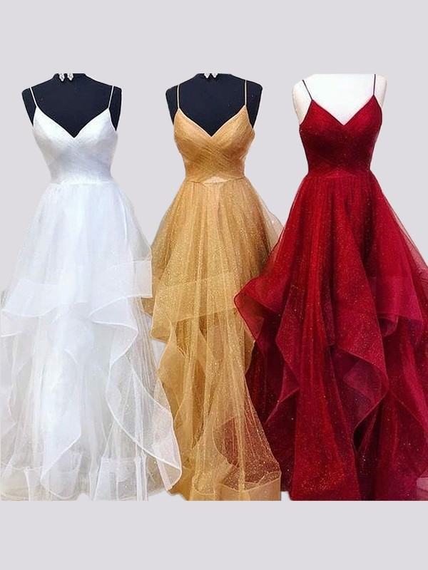 A-Line/Princess Spaghetti Straps Sleeveless Floor-Length Organza Dresses
