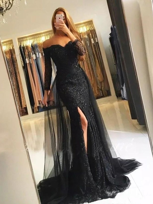 Trumpet/Mermaid Off-the-Shoulder Long Sleeves Sweep/Brush Train Tulle Dresses
