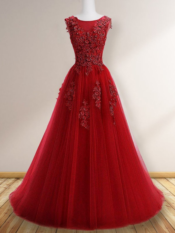 A-Line/Princess Floor-Length Scoop Sleeveless Tulle Dresses