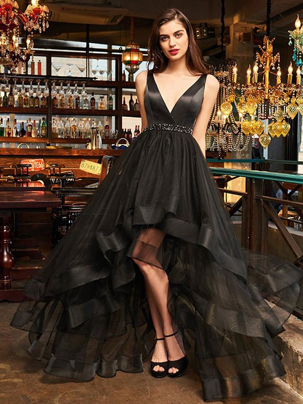 A-Line/Princess V-neck Sleeveless Organza Asymmetrical Dresses
