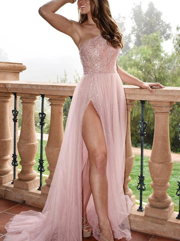 A-Line/Princess One-Shoulder Sleeveless Sweep/Brush Train Tulle Dresses