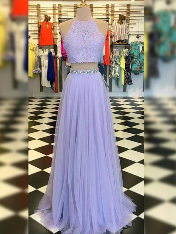 Romantic A-Line/Princess Halter Sweep/Brush Train Sleeveless Tulle Dresses