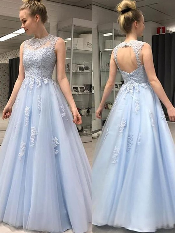 A-Line/Princess Sleeveless Sheer Neck Floor-Length With Applique Tulle Dresses