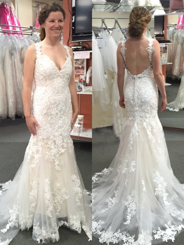 Trumpet/Mermaid Straps Sleeveless With Applique Tulle Sweep/Brush Train Wedding Dresses