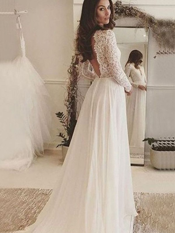 A-Line/Princess Scoop Long Sleeves Chiffon Lace Sweep/Brush Train Wedding Dresses