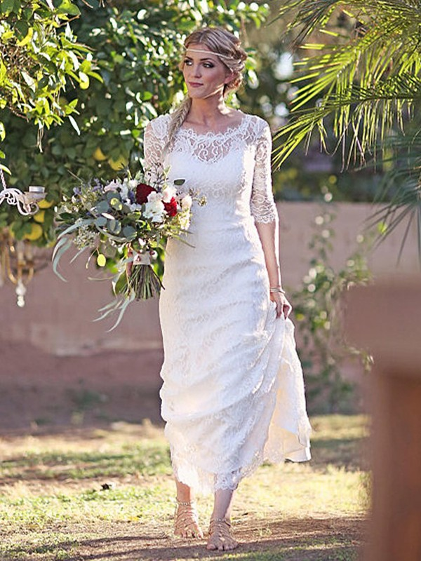 Sheath/Column Lace Bateau 1/2 Sleeves Sweep/Brush Train Wedding Dresses