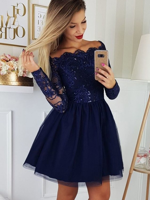 A-Line/Princess Tulle Off-the-Shoulder Long Sleeves Short Dresses With Applique