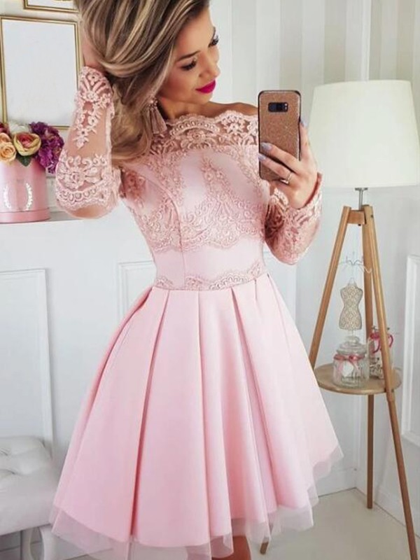 A-Line/Princess Lace Off-the-Shoulder Long Sleeves Satin Short/Mini Dresses