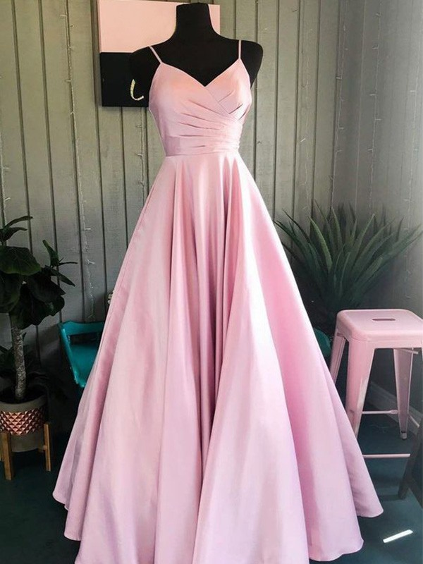 Delightful Occasion A-Line Spaghetti Straps Floor-Length Satin Ruched Sleeveless Formal Evening Dress
