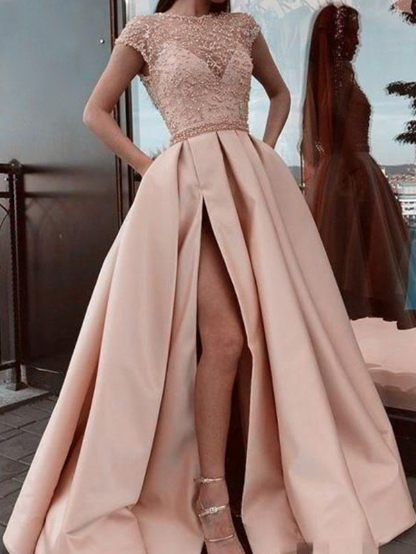 A-Line Scoop Neck Satin Beading Short Sleeves Long Formal Evening Dress