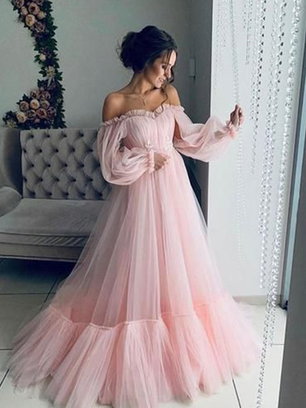 Dreaming Of You A-Line Off-the-Shoulder Tulle Long Sleeves Applique Long Dress