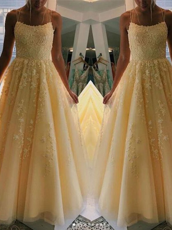 A-Line Spaghetti Straps Sleeveless Tulle Applique Long Formal Evening Dress