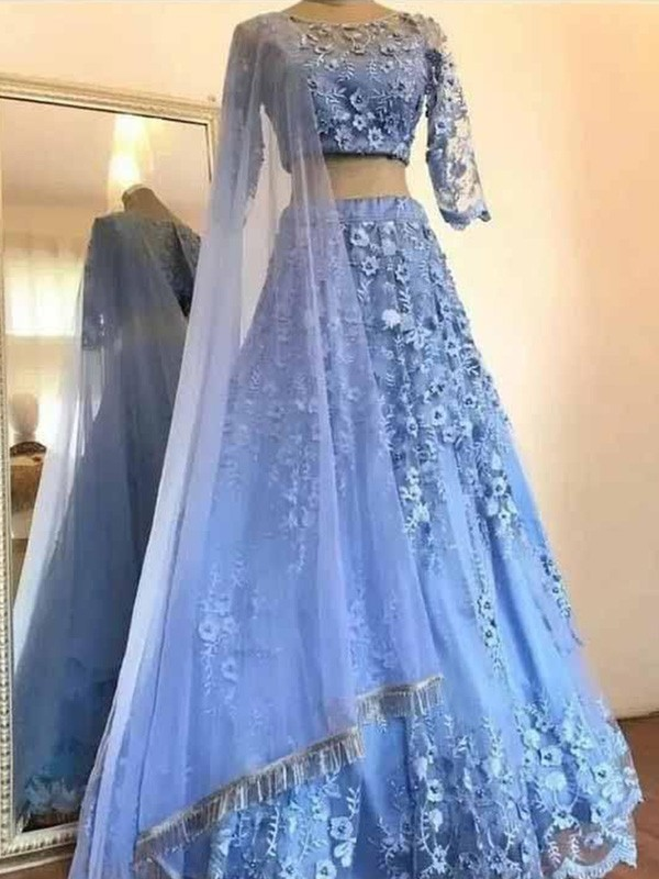 A-Line Scoop Tulle Applique 3/4 Sleeves Long Two Piece Formal Evening Dress