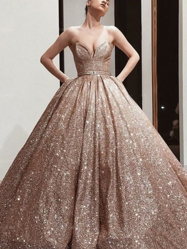Ball Gown Sweetheart Neckline Sequins Sash/Ribbon/Belt Sleeveless Floor-Length Dress