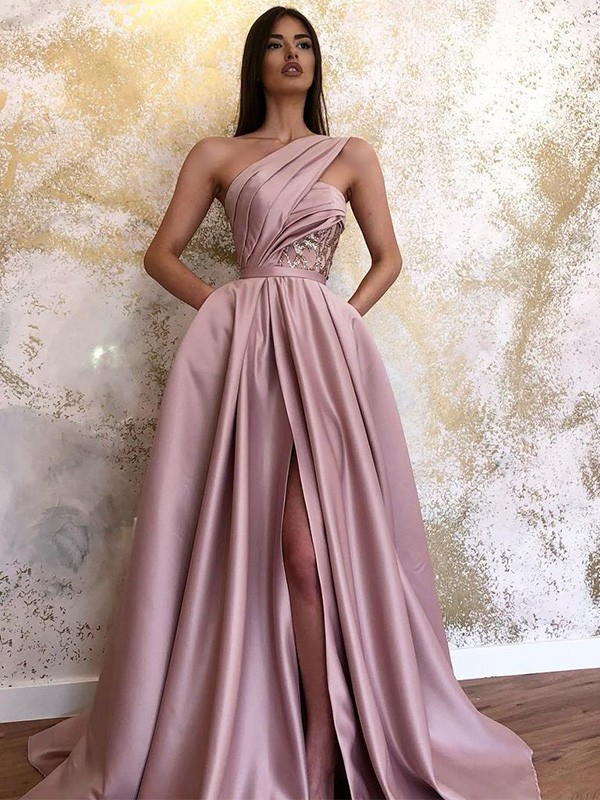 Cheers A-Line Satin One-Shoulder Sleeveless Ruched Long Formal Evening Dress