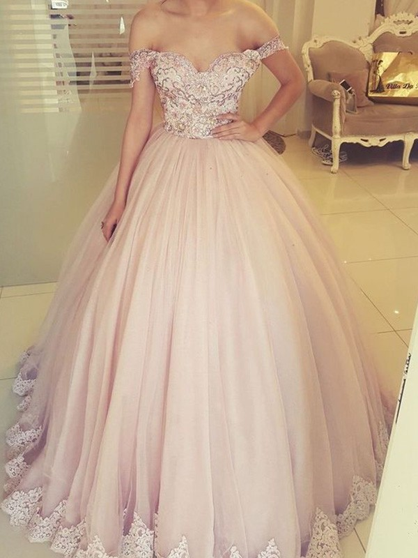 Ball Gown Off-the-Shoulder Tulle Applique Floor-Length Sleeveless Formal Evening Dress