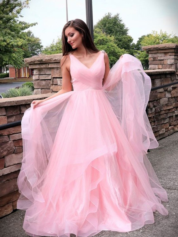 Dreaming Of You A-Line V-neck Tulle Ruched Sleeveless Sweep/Brush Train Dress
