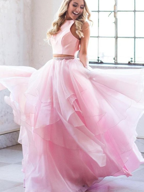 A-Line Beading Scoop Tulle Sleeveless Long Two Piece Formal Evening Dress