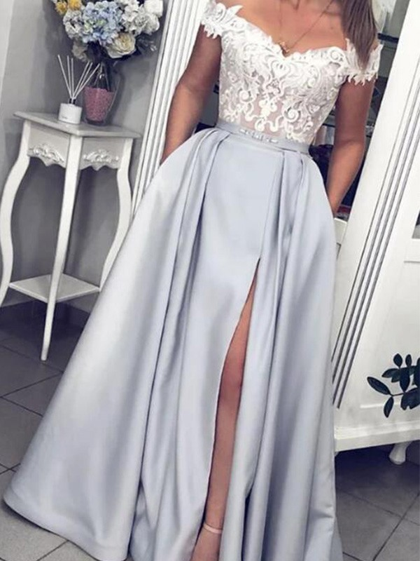 Dreaming Of You A-Line Satin Off-the-Shoulder Floor-Length Lace Sleeveless Dress