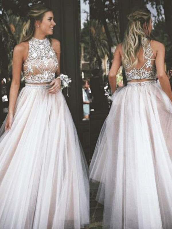 A-Line/Princess Floor-Length Sleeveless High Neck Tulle With Beading Dresses