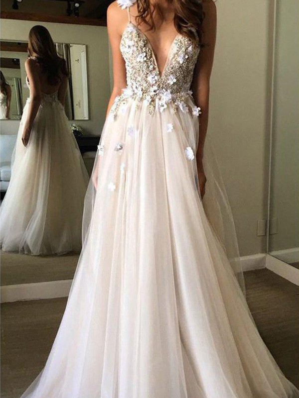 Because Of You A-Line Tulle V-neck Sleeveless Floor-Length Wedding Dress with Beading