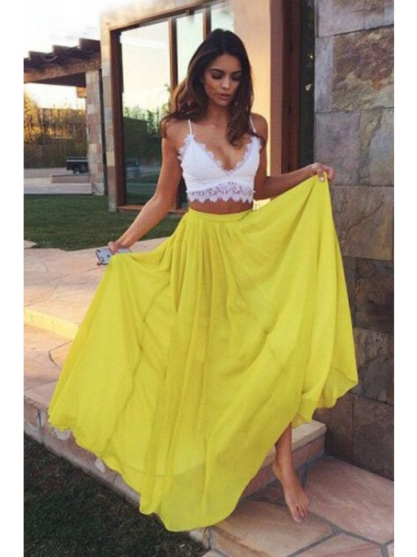 A-Line/Princess Straps Floor-Length Lace Sleeveless Chiffon Two Piece Dresses