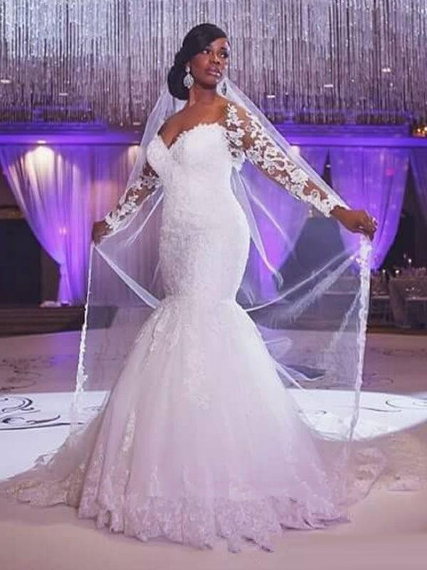Mermaid Long Sleeves Sweetheart Sweep/Brush Train With Applique Tulle Wedding Dresses