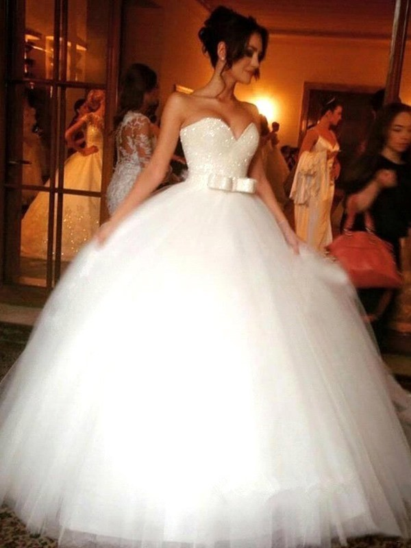 Floor-Length Ball Gown Bowknot Sweetheart Tulle Sleeveless Wedding Dresses