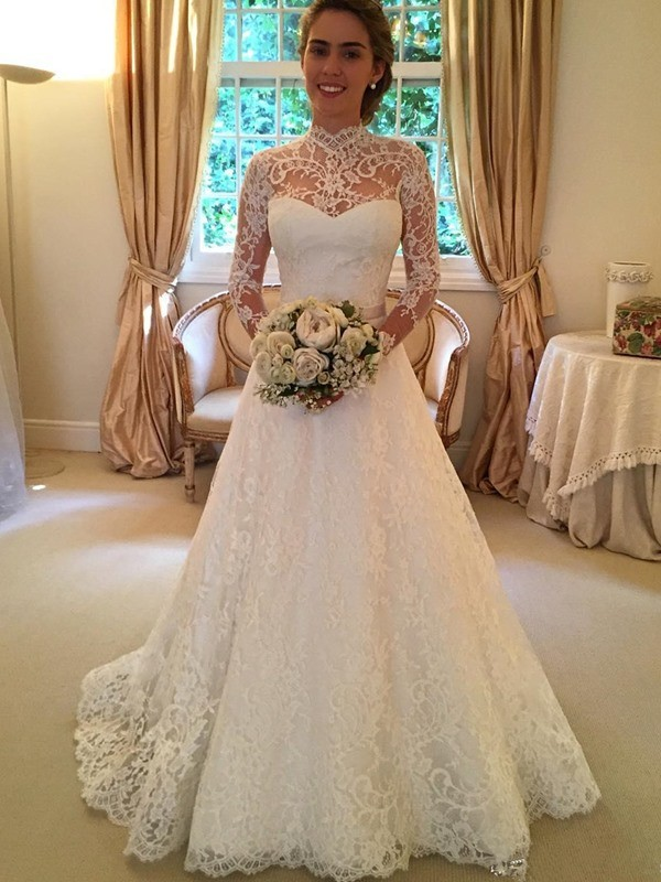 Court Train Ball Gown High Neck Long Sleeves Lace Wedding Dresses