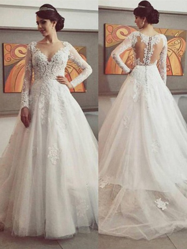 Court Train Ball Gown V-neck Long Sleeves Lace Tulle Wedding Dresses