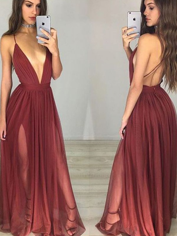A-Line/Princess Floor-Length Sleeveless Spaghetti Straps Chiffon With Ruched Dresses