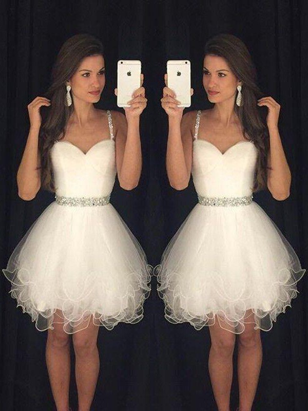Sweetheart A-Line/Princess Sleeveless With Beading Tulle Short/Mini Dresses
