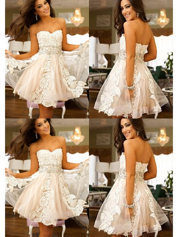 A-Line/Princess Sweetheart Tulle Sleeveless Short/Mini Dresses With Applique