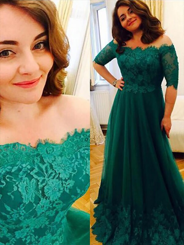 Floor-Length A-Line Short Sleeves Tulle Off-the-Shoulder Plus Size Dresses With Applique